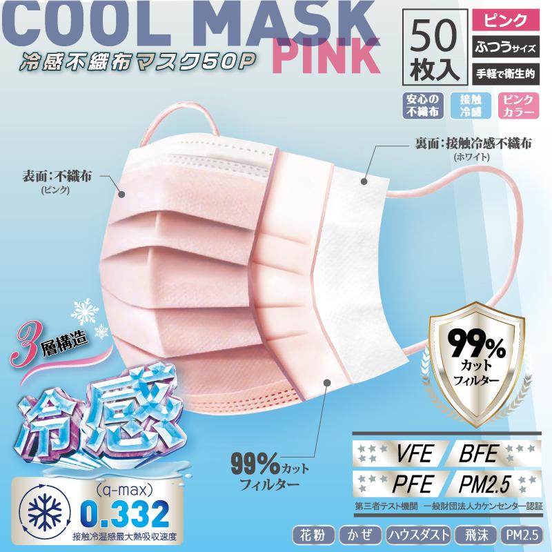 【ホントに冷たい!】高機能99%カット冷感不織布マスク 【ピンク】
